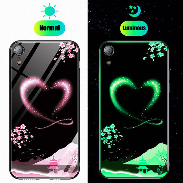 Phone Accessories - Soft Edge Shockproof Glass Laser Pattern Luminous Case