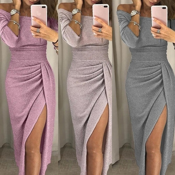Clothing - New Fashion Women's Long Sleeve High Slit Bodycon Dresses(Buy 2 Got 10% off, 3 Got 15% off Now)