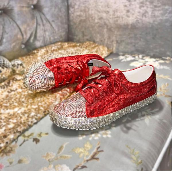 New Arrivals Simple Casual Lace Up Flat Diamond Women Shoes