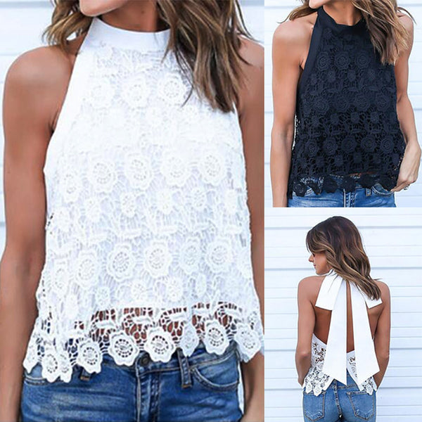Women's Clothing - Summer Sexy Backless Lace Casual Tank Tops