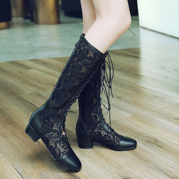 2018 Lady Fashion Gladiator Black White Beige Roman Lace Boots