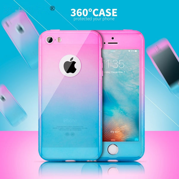 Phone Case - Fashion 360 Full Protection Gradient Case For iPhone XR/XS/XS Max X 8 7 6S 6/Plus + Free Glass Film( Buy One Get One 20% Off)