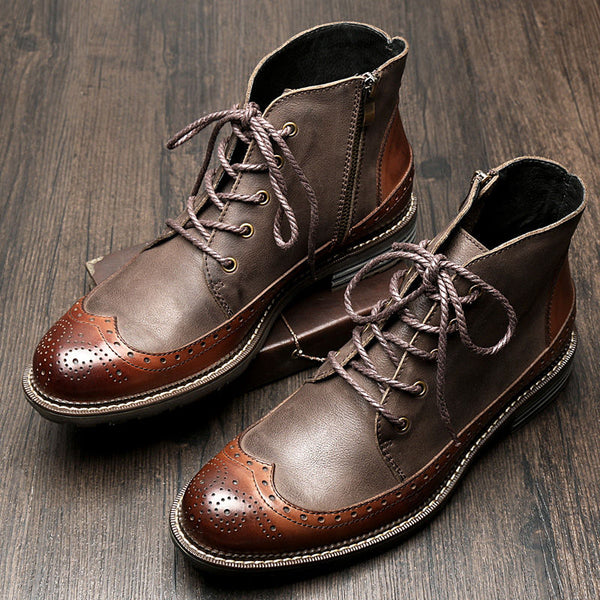 British Style Genuine Leather Handmade Ankle Boots