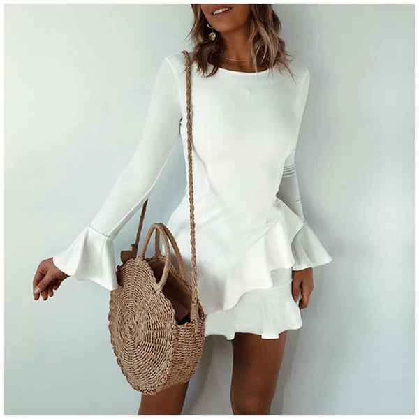 Autumn Flounce White Dress