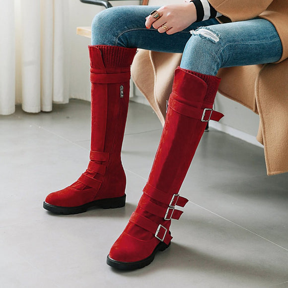 Women's Shoes - Fall/Winter Fashion Mid Calf Buckle Booties
