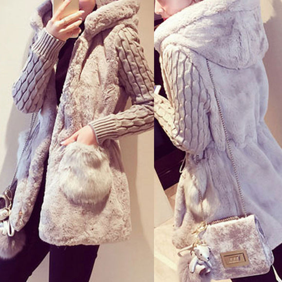 2019 Women Warm Patchwork Knitted Warm Hooded Coats