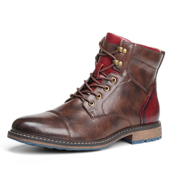 Kaaum High Quality Retro Leather Men's Motorcycle Boot(Extra Buy 2 Get 5% OFF, 3 Get 10% OFF)