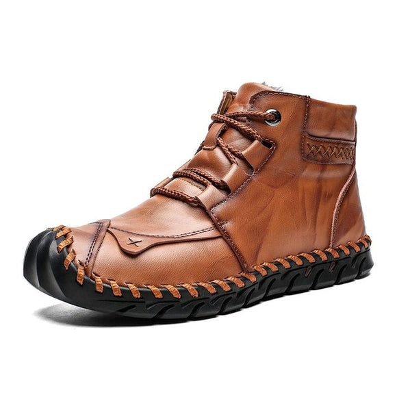 High Quality Leather Men Warm Plush Snow Boots