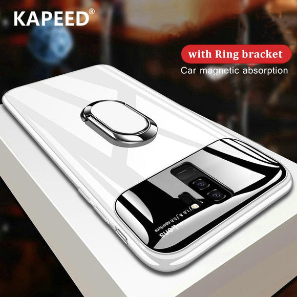 Phone Accessories - Luxury Glossy Mirror Mate Magnetic Finger Ring Kickstand Case For iPhone