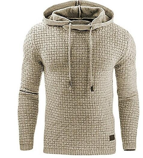 Kaaum Long Sleeve Solid Color Lattice Hooded Sweatshirt