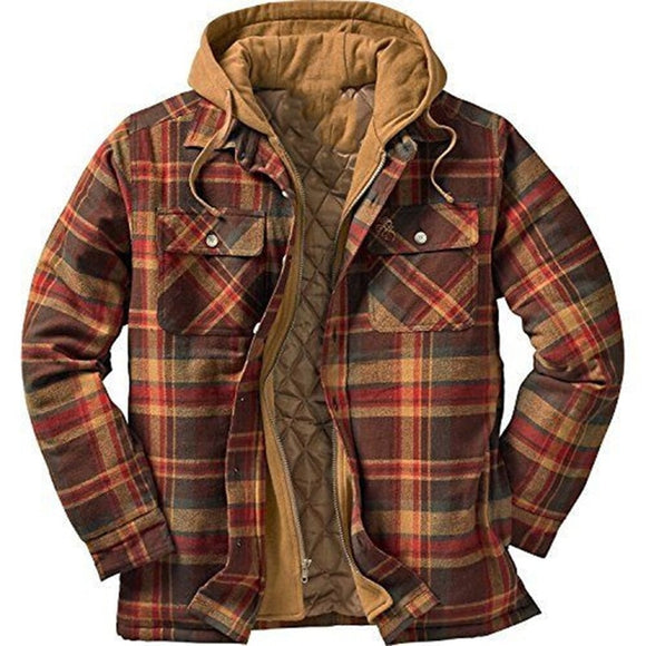 Hot New Fashion Men's Hooded Plaid Warm Jacket