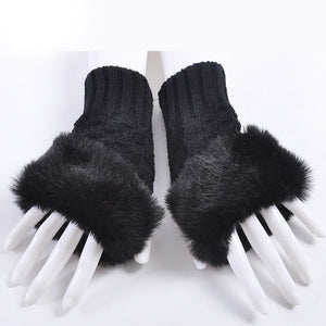 Clothing Accessories - Fashion Women Faux Rabbit Fur Hand Wrist Crochet Knitted Finger-less Gloves