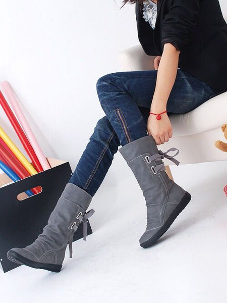 Casual Big Size Pure Color Lace Up Mid Calf Flat Knight Boots(Buy 2 Got 5% off, 3 Got 10% off)