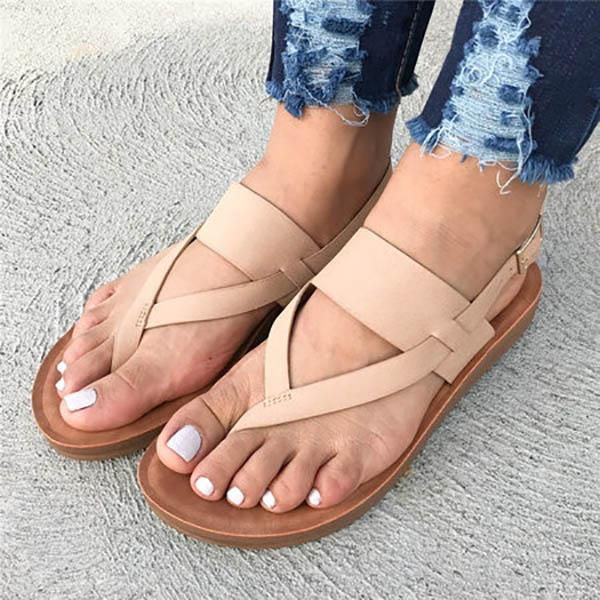 Women's Shoes - Summer Beach Genuine Leather New Solid Color Sandals