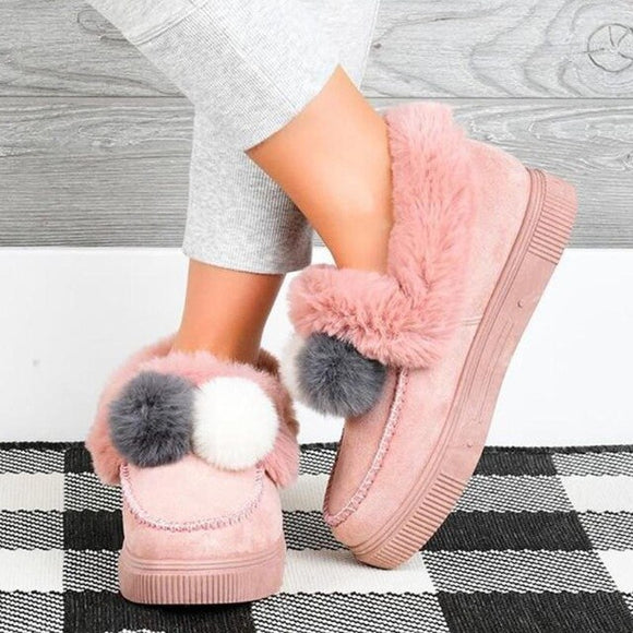 Women's Winter Thick Plush Warm Wool Ball Cotton Shoes
