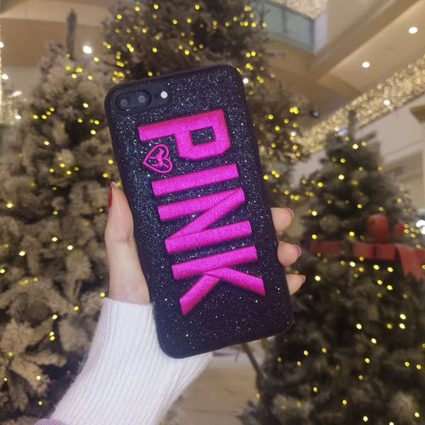 Embroidery PINK Glitter Soft Cases(For iphone X 8/7/6s/6 Plus)(Extra Discount:Buy 2 Got 5% OFF, 3 Got 10% OFF)