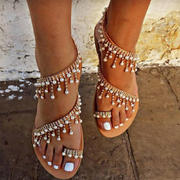 2018 Summer New Style Casual Flat Pearl Sandals