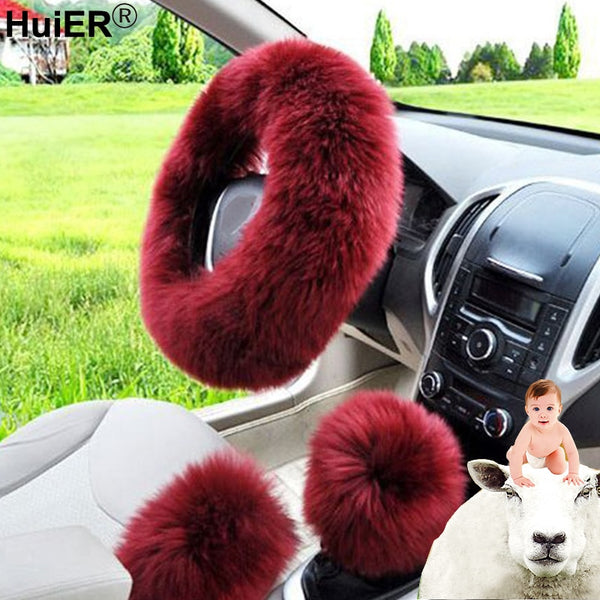 3pcs/set Winter Car Steering-wheel Cover 7 Colors