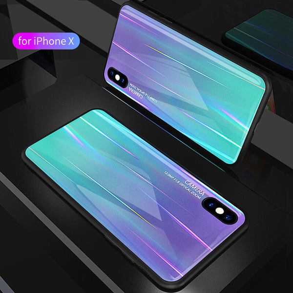 Phone Case - Luxury Aurora Color Soft Edge Tempered Glass Shockproof Phone Case For iPhone X/XS/XR/XS Max