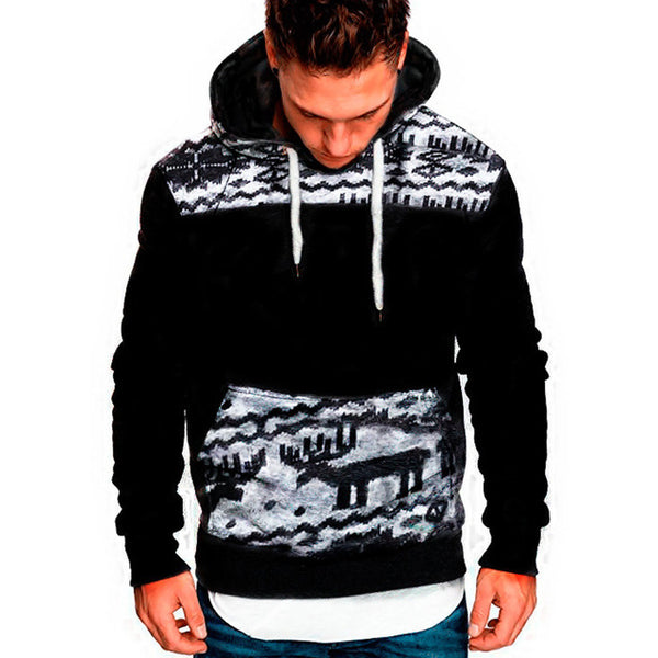 Men's Clothing - Fashion Men's Casual Christmas Deer Hoodies