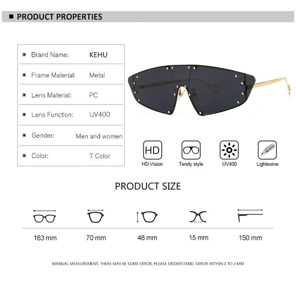 Sunglasses - Luxury Brand Vintage Rivet Sunglasses