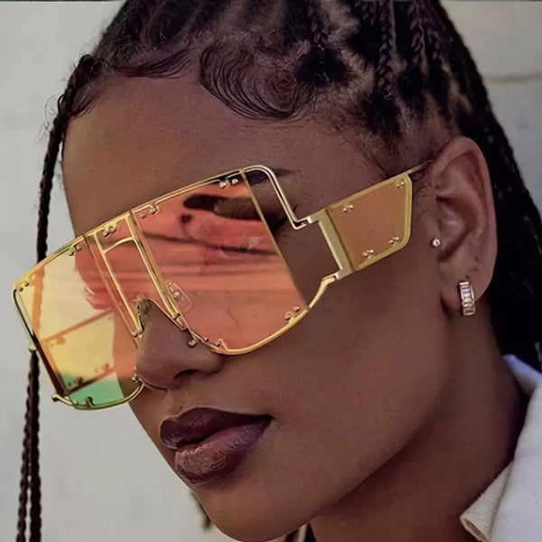 Sunglasses - Ladies Luxury Oversized Rivet Shades