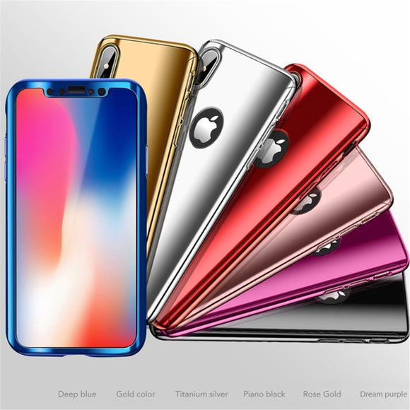 Phone Case - Luxury 360 Full Protection Plating Mirror Phone Case With Free Screen Protector For iPhone X/XS/XR/XS Max