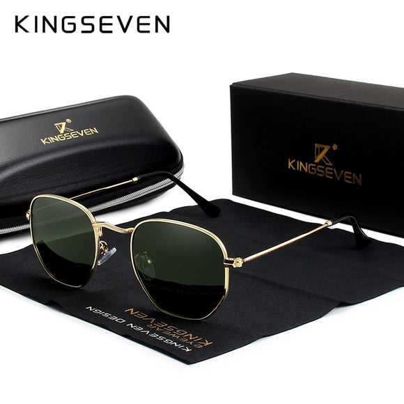 Sunglasses - Men Classic Reflective Hexagon Retro Stainless Steel Sunglasses