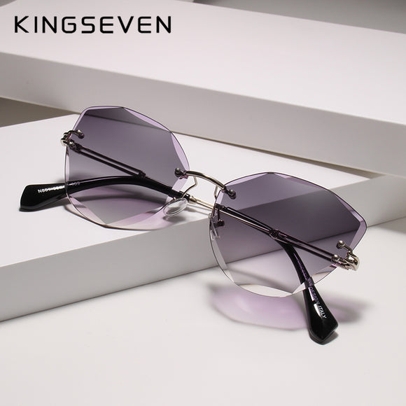 Kaaum Design Rimless Fashion Cat Eye Gradient Driving UV400 Clear Vintage Sunglasses