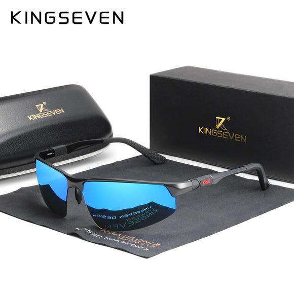 Kaaum Driving Series Blue Mirror Lens Polarized Men Aluminum Sunglasses