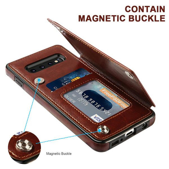 Retro PU Leather Wallet Magnet Multi Card Case For Samsung(Buy 2 Get 10% OFF, 3 Get 15% OFF)