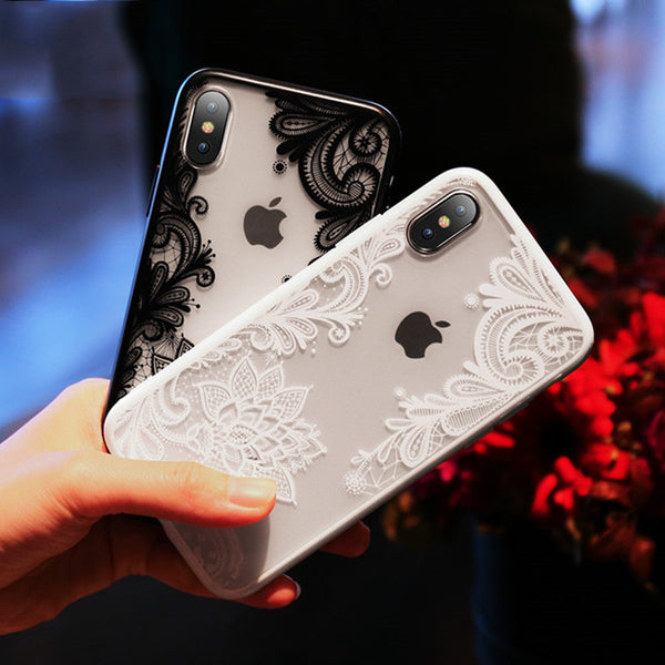 Phone Case - Luxury 3D Lace Relief Flower Phone Case For iPhone XS/XR/XS Max 8/7 Plus
