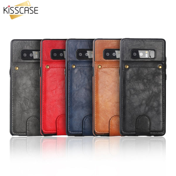 Phone Case - Vintage Card Slot Leather Case for Samsung Galaxy S9 S8 Plus S7 Edge