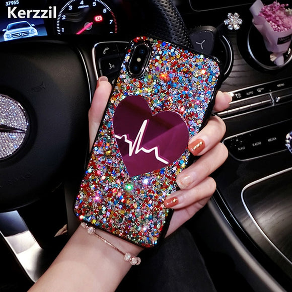 Phone Case - Glitter Bling Love Heart Phone Case for iPhone X
