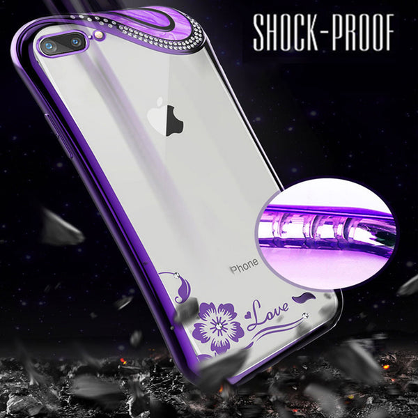 Phone Case - Fashion Diamond Ultra Slim Clear Soft TPU Phone Case For iPhone X 8 7 6 Plus