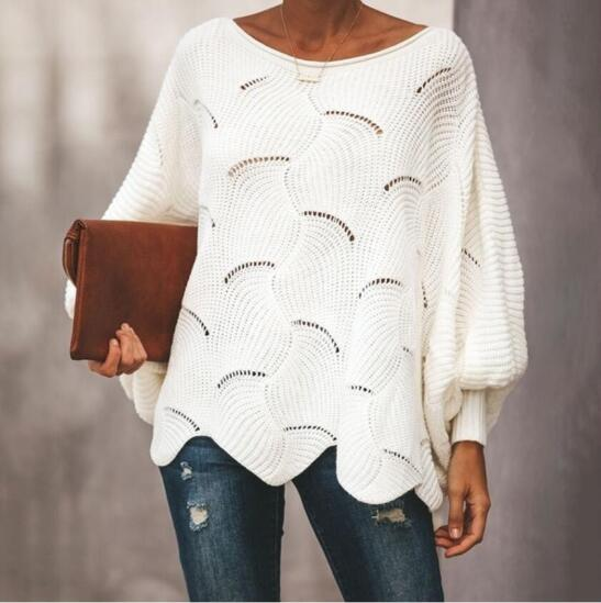Women's Clothing - Fashion Women's Sexy O-neck Lantern Sleeve Hollow Out Pullover