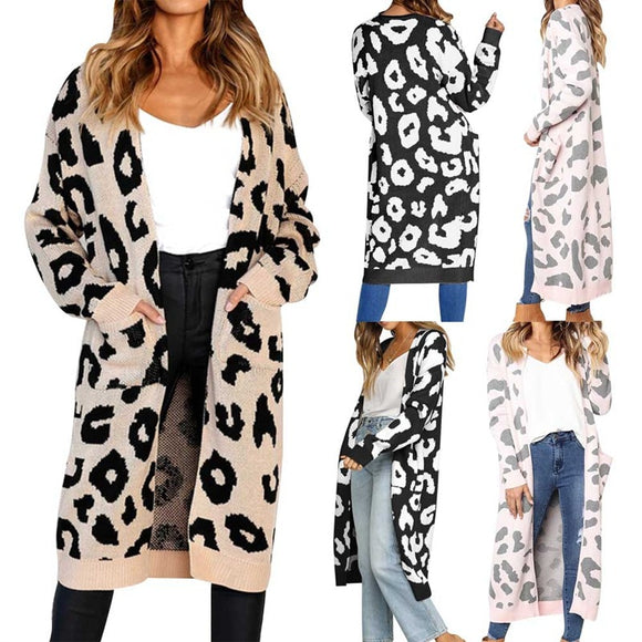 Cardigans - Colorful Leopard Print Long Casual Sweater