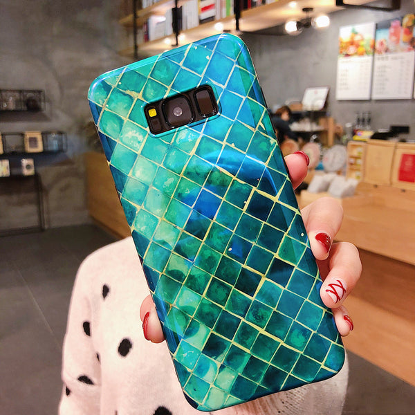 Phone Accessories - Luxury Blue-Ray Fish Scale Cases For Samsung Galaxy S8 S9 Plus Note 8 9