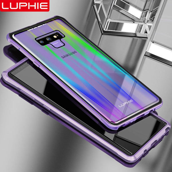 best cheap 7e016 05737 Phone Case - Metal Bumper Clear Glass Back Laser Aurora Magnetic Case for  Samsung Galaxy Note 9
