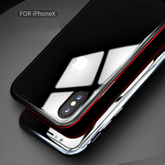 Phone Case - Aviation Aluminum Metal Frame+Tempered Glass Transparent Back Cover for iPhone X