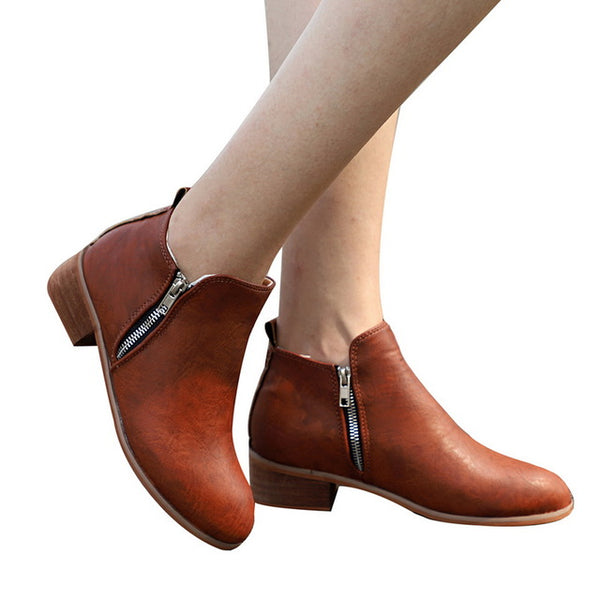 Women's Shoes - Spring Autumn Chunky Low Heels Booties For Ladies