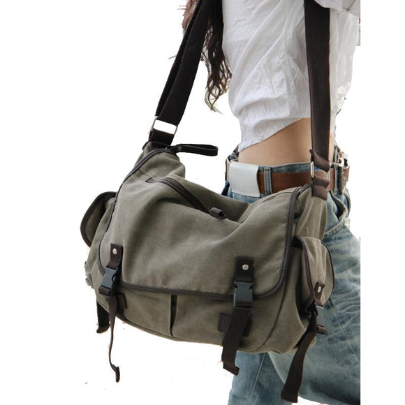 Large Vintage Canvas Messenger Bag