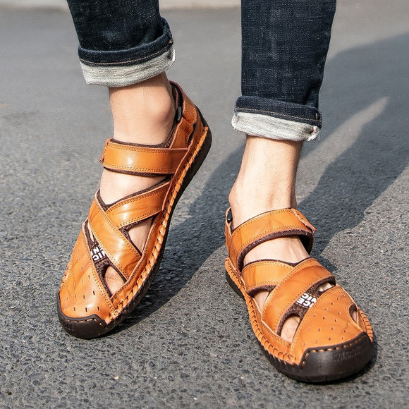 Men's Summer Leather Soft Non-Slip Beach Sandals