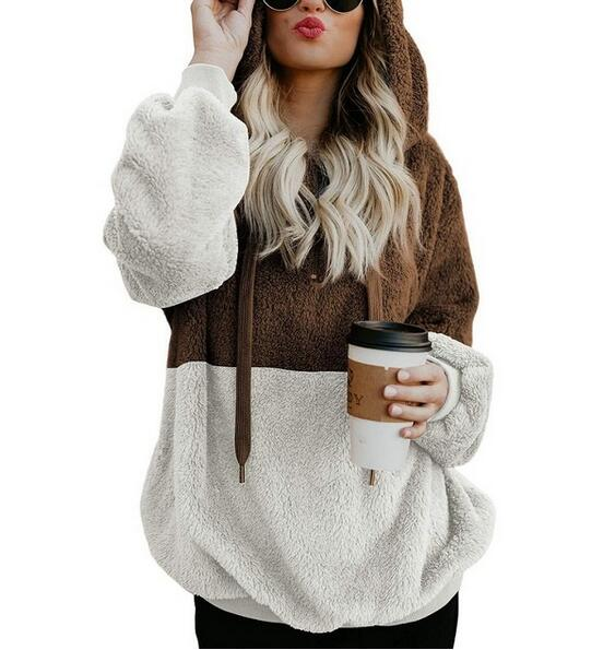 Clothing - Women's Faux Fur Teddy Bear Patchwork Coat