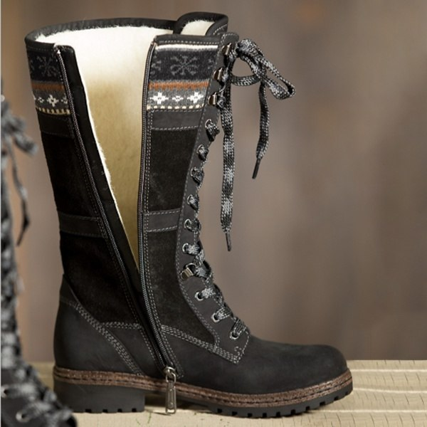 Women Sexy Lace Up Low Heel Warm Boots