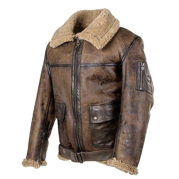 Kaaum Men Winter Motorcycle Windbreaker Retro Leather Jacket