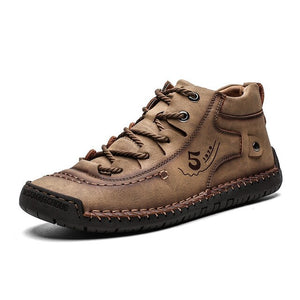 Plus Size Men Hand Stitching Non Slip Retro Casual Leather Boots
