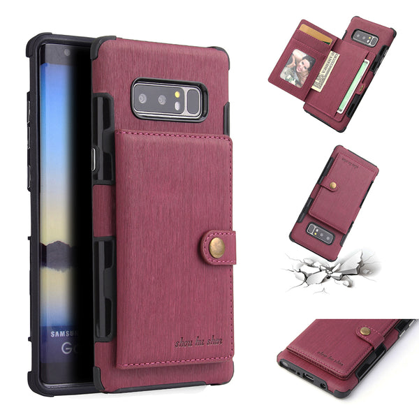 in stock dcc0b f3f08 Luxury Buckle Card Holder Cases For Samsung Galaxy S8 S9+ Note 8 9