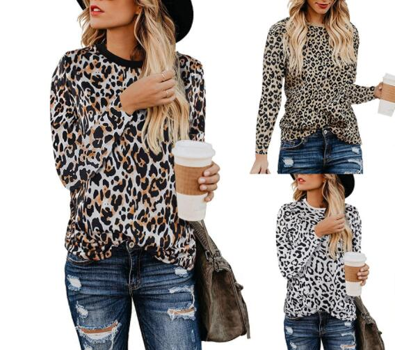 New Autumn Fashio Leopard Print Slim Women T-shirt
