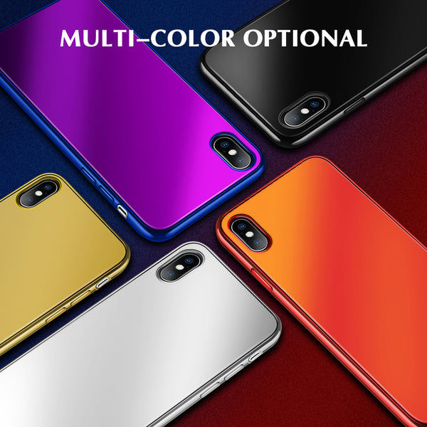 Phone Case - Electroplated Plain Tempered Glass Phone Cases for iPhone X 8 7 Plus